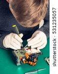 close up hand of a technician... | Shutterstock . vector #531235057