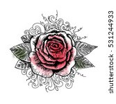 hand drawing rose tattoo | Shutterstock . vector #531244933