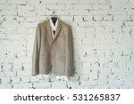male gray jacket hangs on a... | Shutterstock . vector #531265837