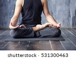 yoga. close up men hands. young ... | Shutterstock . vector #531300463