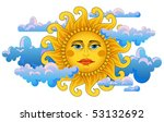 big hot gold sun on clouds. | Shutterstock .eps vector #53132692