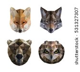 low polygon animal heads logos. ... | Shutterstock .eps vector #531327307