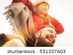 happy couple of travelers in... | Shutterstock . vector #531337603