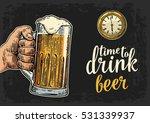male hand holding glass beer... | Shutterstock .eps vector #531339937