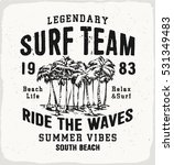 surf team print in black and... | Shutterstock .eps vector #531349483