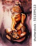 ganesha watercolor. meditation... | Shutterstock . vector #531359113