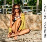 fashion portrait of pretty... | Shutterstock . vector #531379807