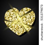glowing golden broken heart.... | Shutterstock .eps vector #531379873