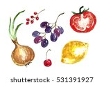 watercolor vegetables and... | Shutterstock . vector #531391927