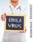 Small photo of Ebola Virus Chalkboard Sign Held By Female Doctor. Vertical Orientation.