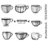 hand drawn vector sketch cups
