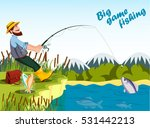 Fisherman Fishing At Lake With...