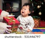 Santa Claus Bring A Gift Box T...