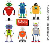 cute cartoon robots set on... | Shutterstock .eps vector #531460447