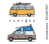 Van With Surfboard On Top Of...