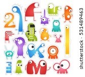set of twenty colorful pretty... | Shutterstock .eps vector #531489463