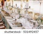 wineglasses stand on dinner...   Shutterstock . vector #531492457