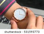 wrist watch on girl's hand in... | Shutterstock . vector #531593773