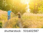 young man and woman walking... | Shutterstock . vector #531602587