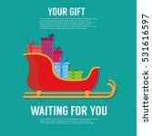santa sleigh. flat icon. gift...