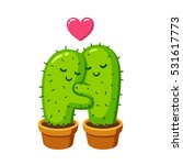 cactus hug vector drawing. cute ... | Shutterstock .eps vector #531617773