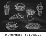 fast food chalk sketch icons on ... | Shutterstock .eps vector #531640123