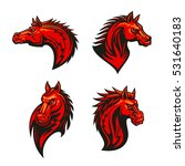 angry horse mascot set with red