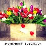 tulips in the box on wooden... | Shutterstock . vector #531656707