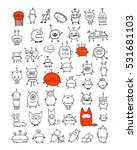 funny aliens collection  sketch ... | Shutterstock .eps vector #531681103