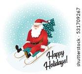 funny santa sledding with... | Shutterstock .eps vector #531709267