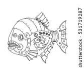 steampunk style piranha fish....   Shutterstock .eps vector #531719287