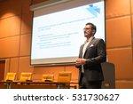 speaker giving talk on podium... | Shutterstock . vector #531730627