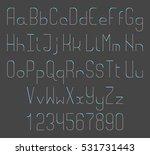 thin line font. alphabet... | Shutterstock . vector #531731443