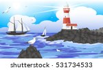 Seascape Lighthouse On The...