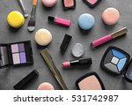 makeup products and macaroons... | Shutterstock . vector #531742987