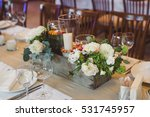 candles and a bouquet of white... | Shutterstock . vector #531745957