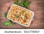 chicken lasagna and white... | Shutterstock . vector #531778507