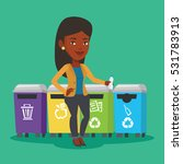 an african woman throwing away... | Shutterstock .eps vector #531783913