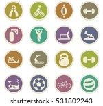 sport equipment icons set for