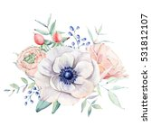 Stock photo elegant watercolor flower composition it is perfect for wedding and birthday card invitation 531812107