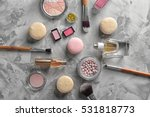 makeup products and macaroons... | Shutterstock . vector #531818773