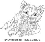Stock vector kitten coloring page 531825073