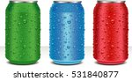 aluminum cans in red green blue ... | Shutterstock .eps vector #531840877