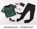 modern clothes on bed | Shutterstock . vector #531841567