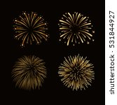 Fireworks Set Gold Isolated....
