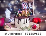 homemade cake decorated with... | Shutterstock . vector #531869683