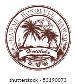 Grunge rubber stamp with palms and the word Honolulu, Havaii inside, vector illustration