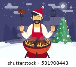 bbq xmas holiday party. flat... | Shutterstock .eps vector #531908443