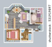 architectural flat plan top... | Shutterstock .eps vector #531919897