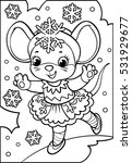 coloring. mouse in snowflake... | Shutterstock .eps vector #531929677